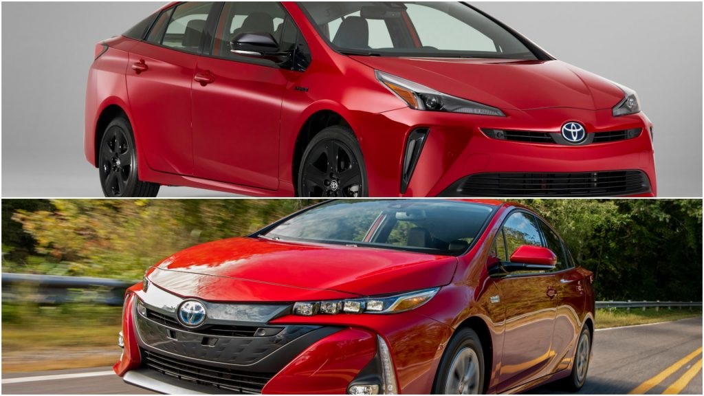 A collage of a red 2021 Toyota Prius hybrid car above and a red 2021 Toyota Prius Prime PHEV