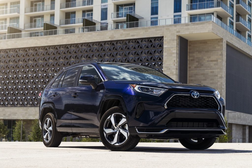 A blue 2021 Toyota RAV4 Prime parked, the 2021 Toyota RAV4 Prime is one of the best AWD SUVs of 2021