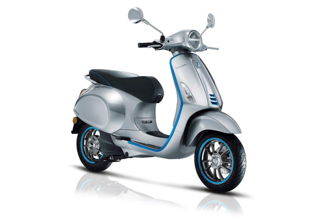 A silver-and-blue 2021 Vespa Elettrica