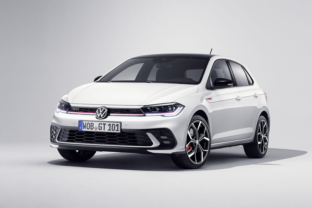 A white 2021 Volkswagen Polo GTI hatchback on a white background