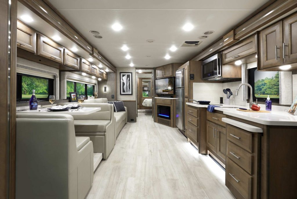 the interior view of the Thor Motor Coach Aria camper windows.