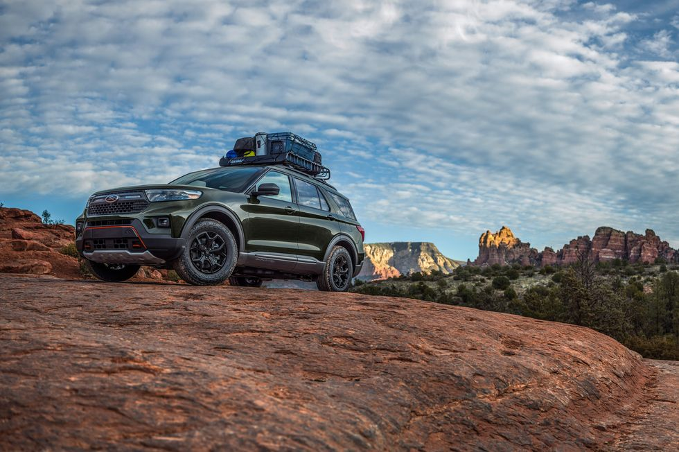 A 2021 Ford Explorer Timberline parked on a rock