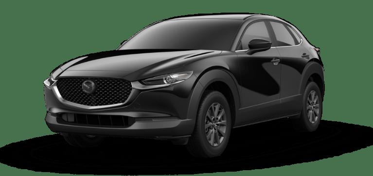 A black 2021 Mazda CX-30 against a white background.