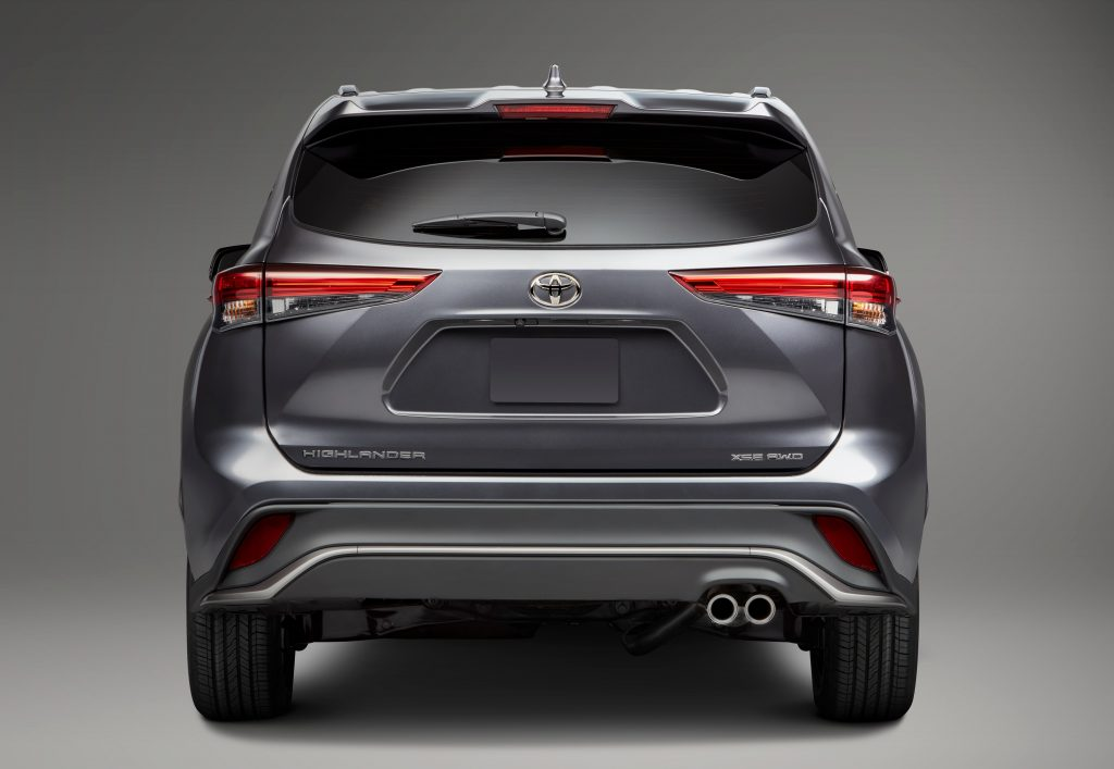 The rear of the Highlander midsize SUV