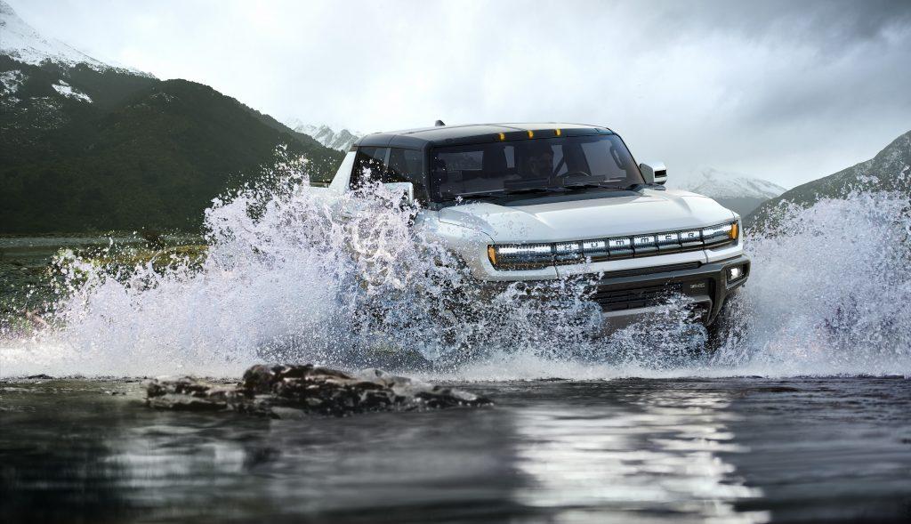 2022 GMC Hummer EV splashing through some water