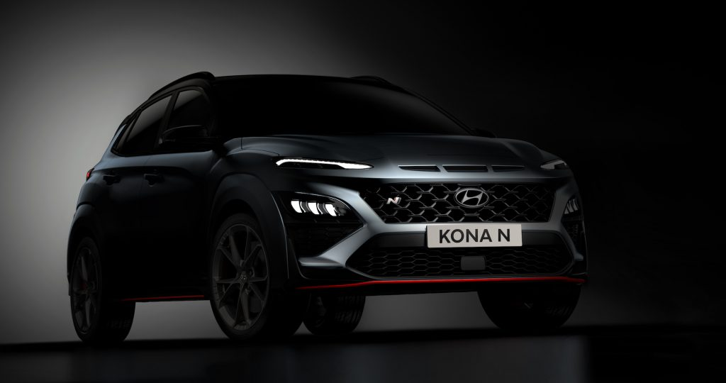 A dark-gray metalllic 2022 Hyundai Kona N subcompact crossover SUV