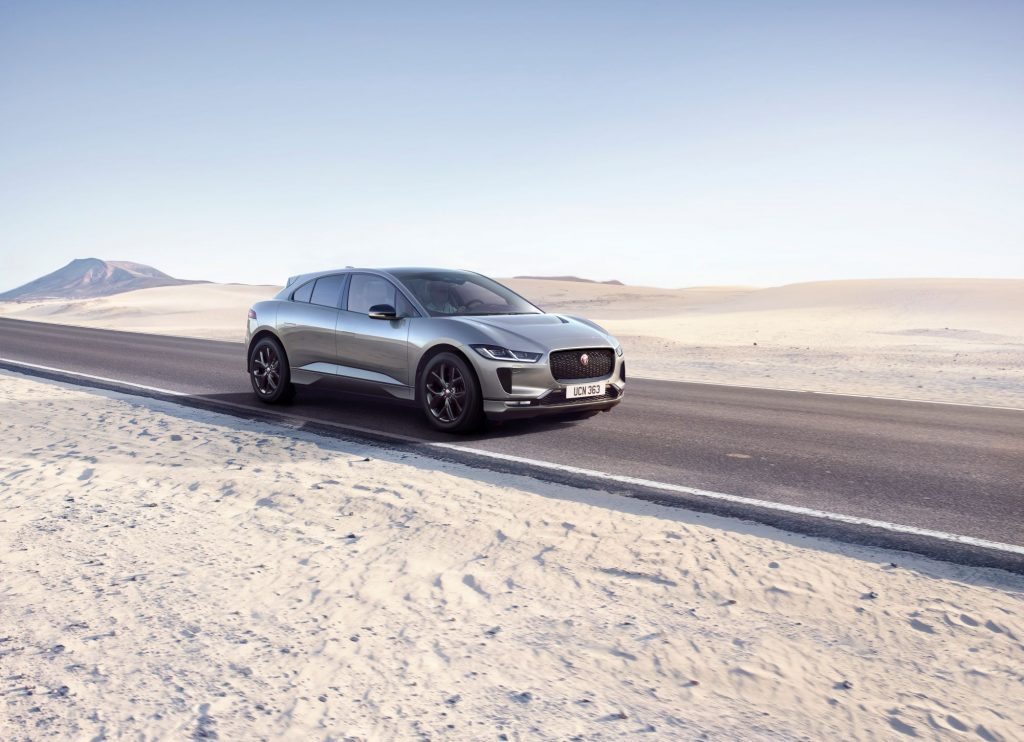 The 2022 Jaguar I-Pace Black parked on a highway road in the desert