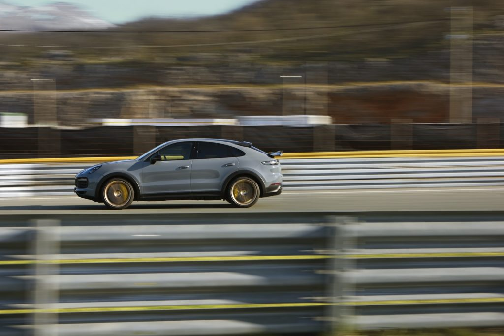 The 2022 Porsche Cayenne Turbo GT looking like the fastest SUV ripping down the track