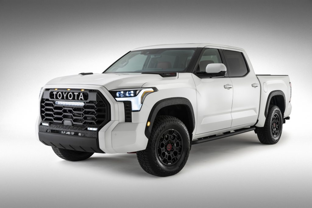 The white 2022 Toyota Tundra TRD PRO