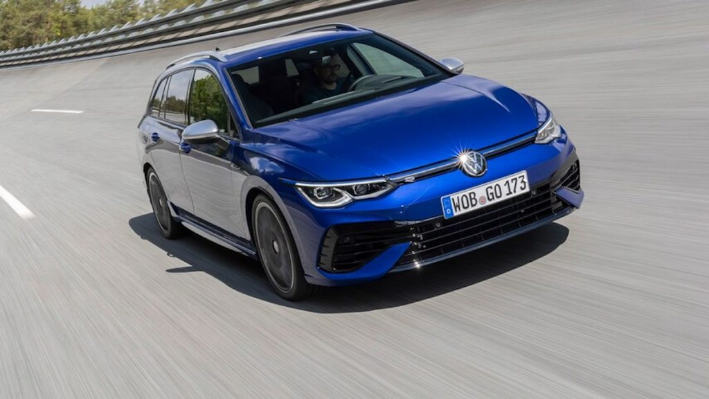 2022 VW Golf R Estate in blue parked in a parking lot