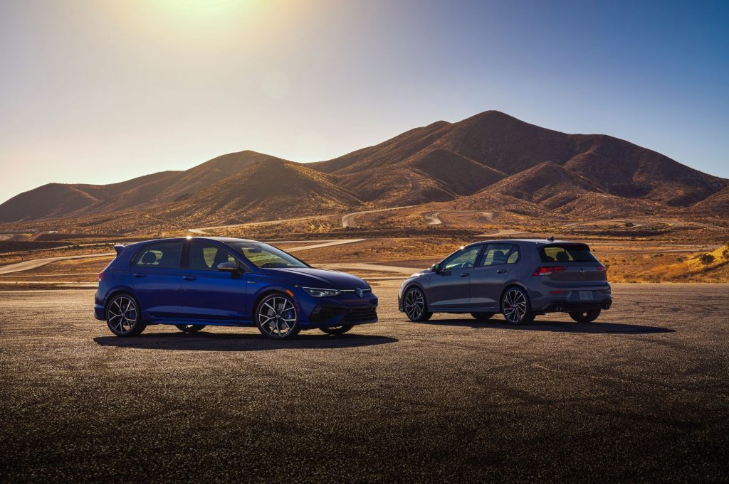 The 2022 Volkswagen Golf R and Golf GTI debut images from the 2021 Chicago Auto Show