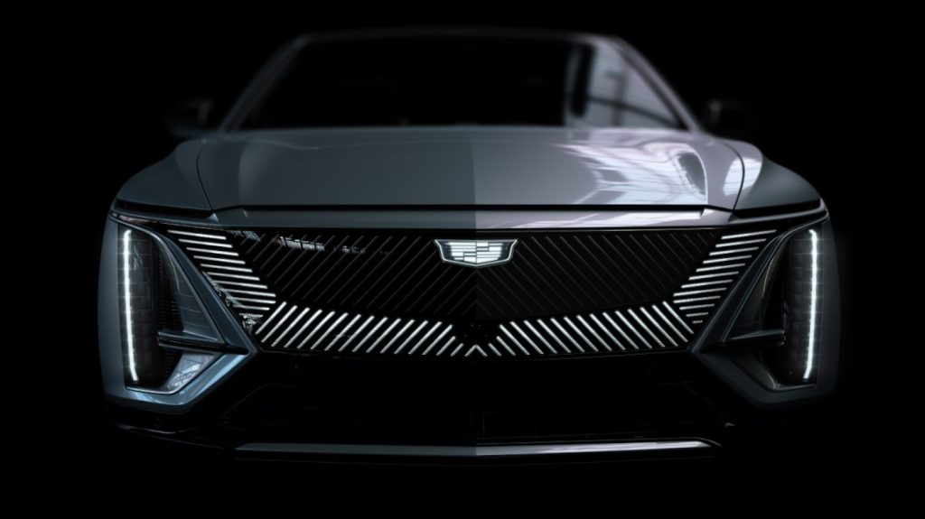 A head-on view of a gray 2023 Cadillac Lyriq electric SUV's hood and grille.