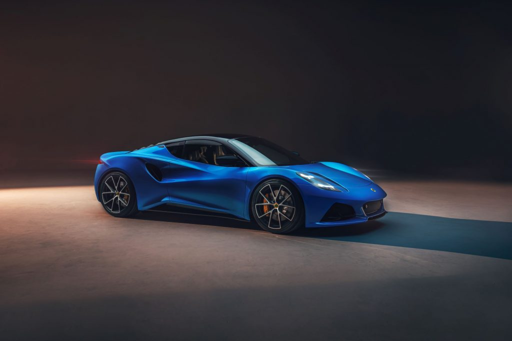The front 3/4 view of a blue 2023 Lotus Emira