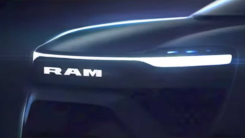 The grille of the upcoming 2024 Electric Ram 1500
