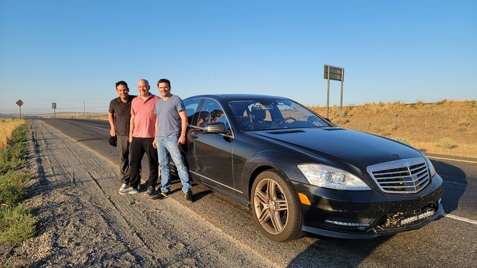 New record holders Todd Heckel, Grady Leno, and Peter Loforte with the record-holding car