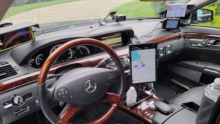 The interior of the Mercedes SL550 used to drive across the country