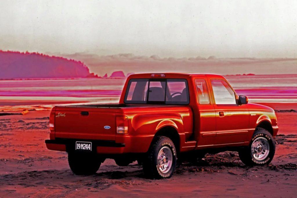 A red Ford Ranger Splash  in the desert