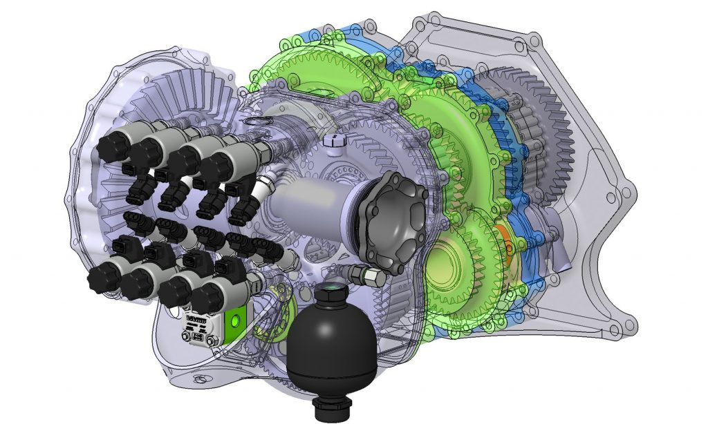 A see-through image showing Koenigsegg's lightspeed transmission