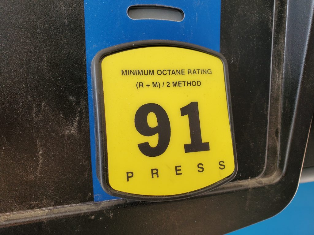 A 91-octane label for premium gas on a fuel pump at a gas station in San Ramon, California, in August 2020