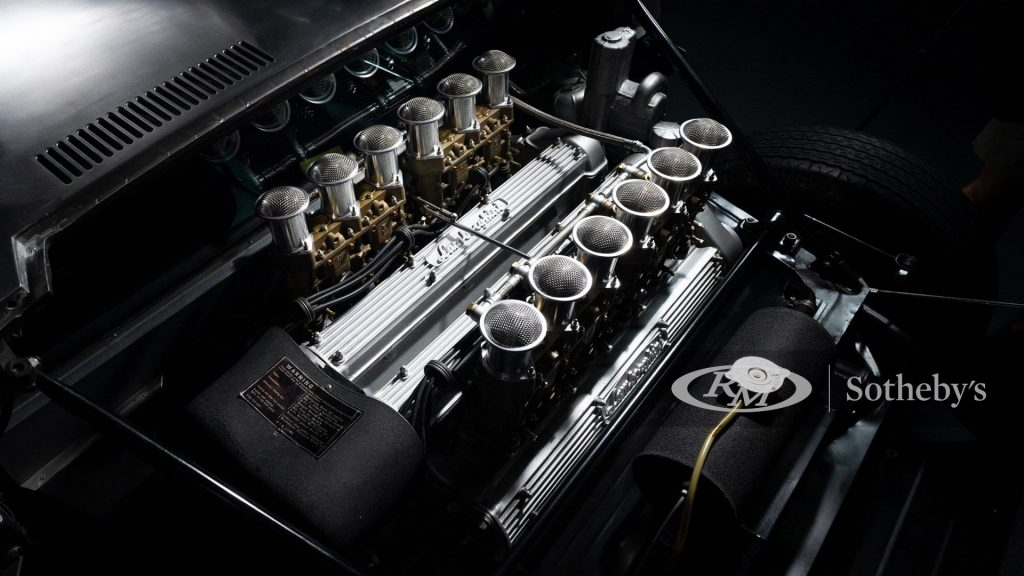 The Miura's famous transversely-mounted V12 with individual velocity stacks