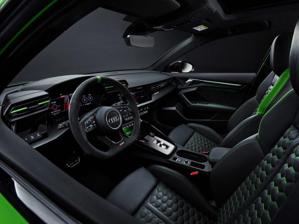 The Kyalami Green accented interior of the new RS3 sedan