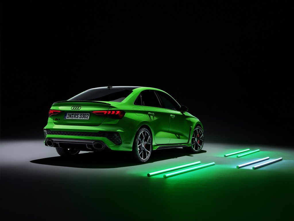 The rear of the Kyalami Green Audi RS3