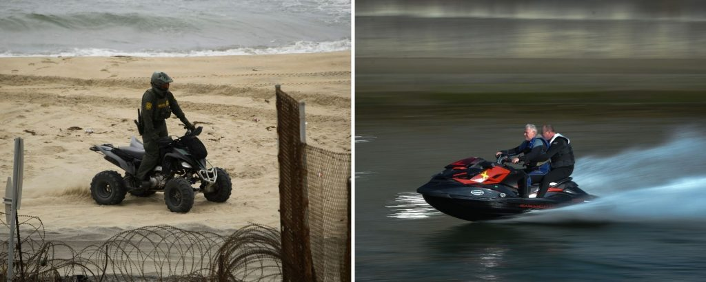 An ATV on a beach and a jet ski on the water