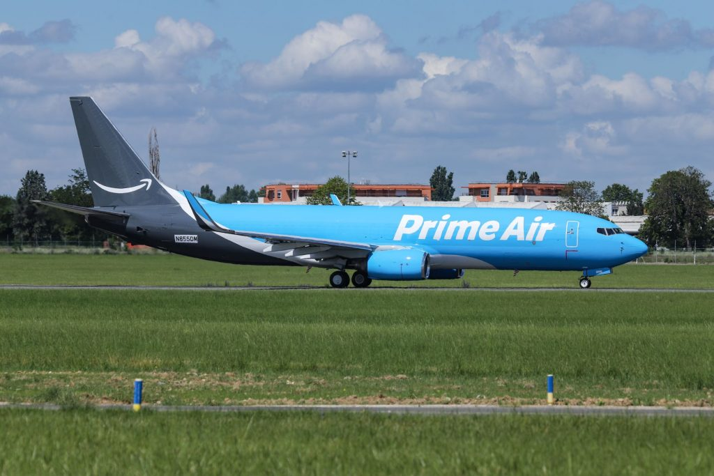 An Amazon Prime Air Boeing 737 aircraft parked at the Le Bourget Airport LBG in France