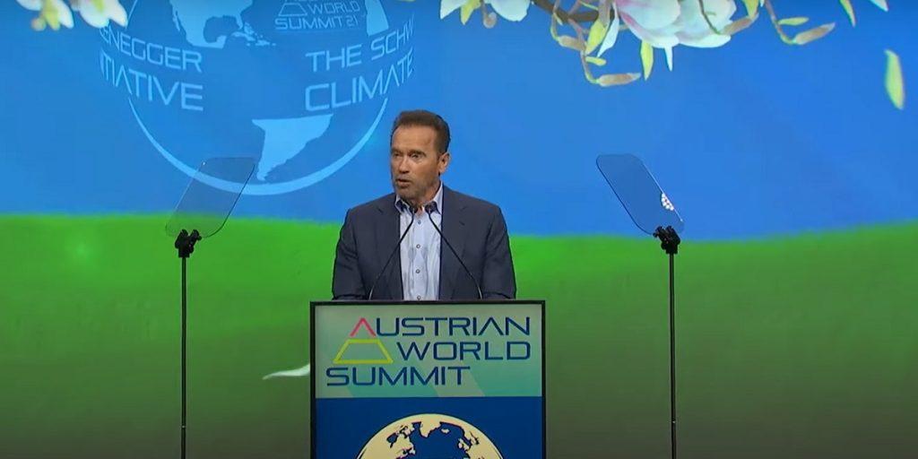 Arnold Schwarzenegger gives a speech at the Austrian World Summit.