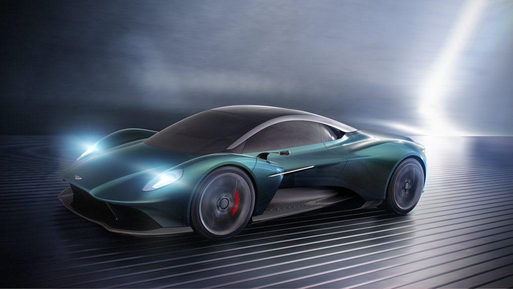 Concept art of a green 2024 Aston Martin Vanquish supercar