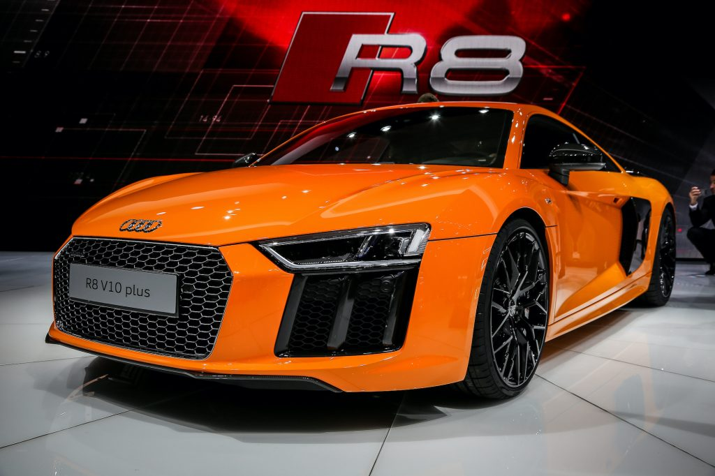 The Audi R8 V10 Plus is on display at the 85th Geneva International Motor Show.
