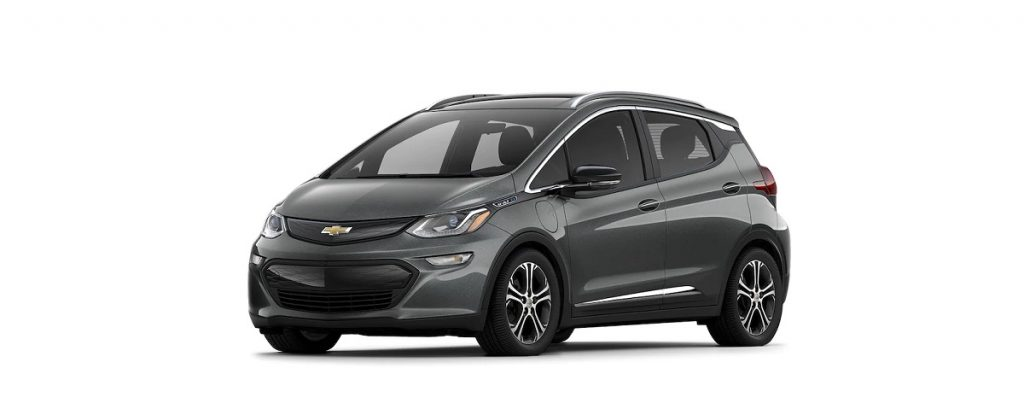 A gray Chevy Bolt against a white background.