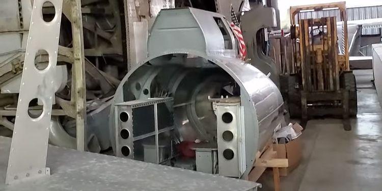 B-17 tsail gunners section being restored