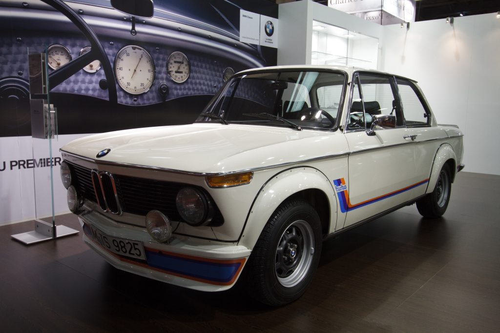 1974 BMW 2002 Turbo on display as part of a BMW exhibit.