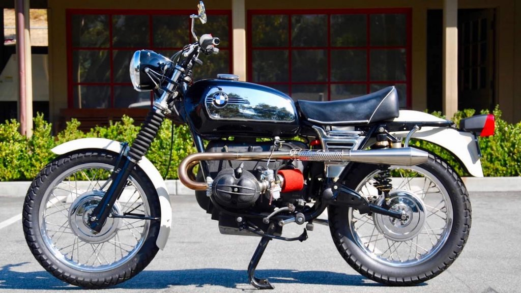 """1972 BMW R75/5 """"scrambler"""" in a parking lot was the basis for the BMW R80 G/S"""