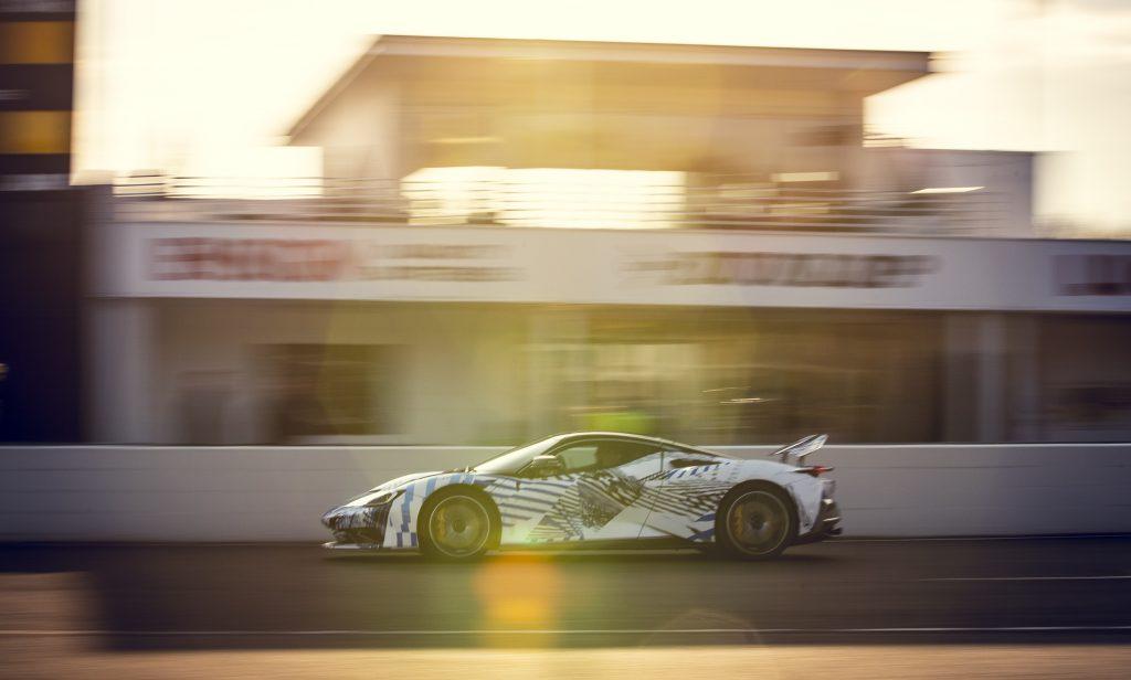 Pininfarina Battista racing on the track