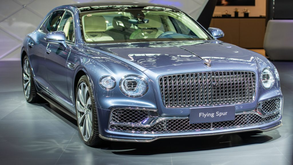 A Bentley Flying Spur car is on display during the 18th Guangzhou International Automobile Exhibition at China Import and Export Fair Complex on November 20, 2020 in Guangzhou, Guangdong Province of China.