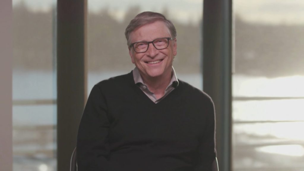 A screengrab of Bill Gates on 'The Late Late Show With James Corden' in October 2020