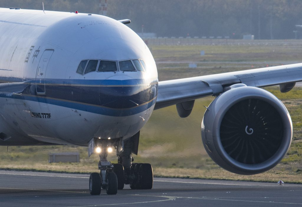 A Chinese Boeing 777F cargo airplane taxis for take-off at Frankfurt Airport in April 2021