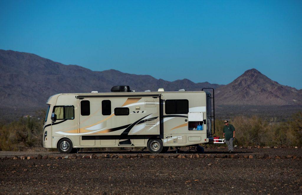 A camper van motorhome parked at La Posa in Quartzite, Arizona