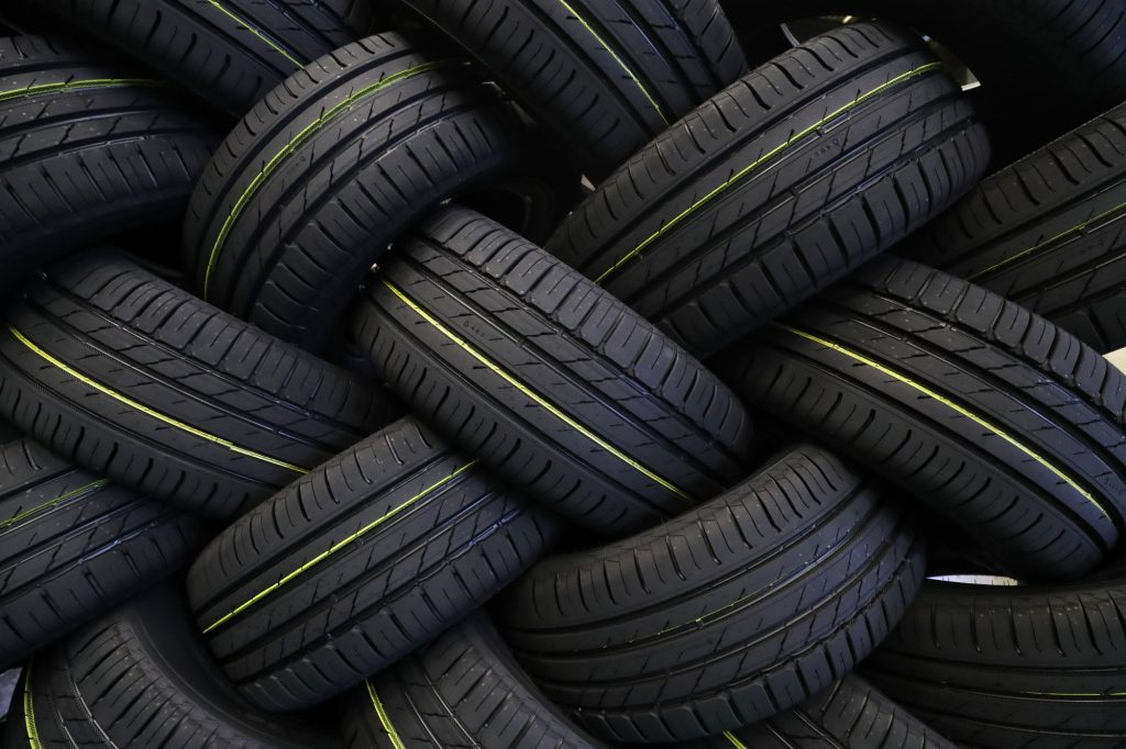 Rows of new tires