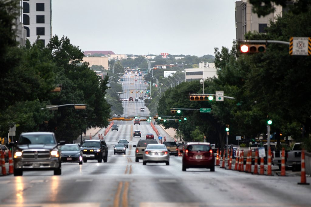 A well trafficked road in downtown Austin