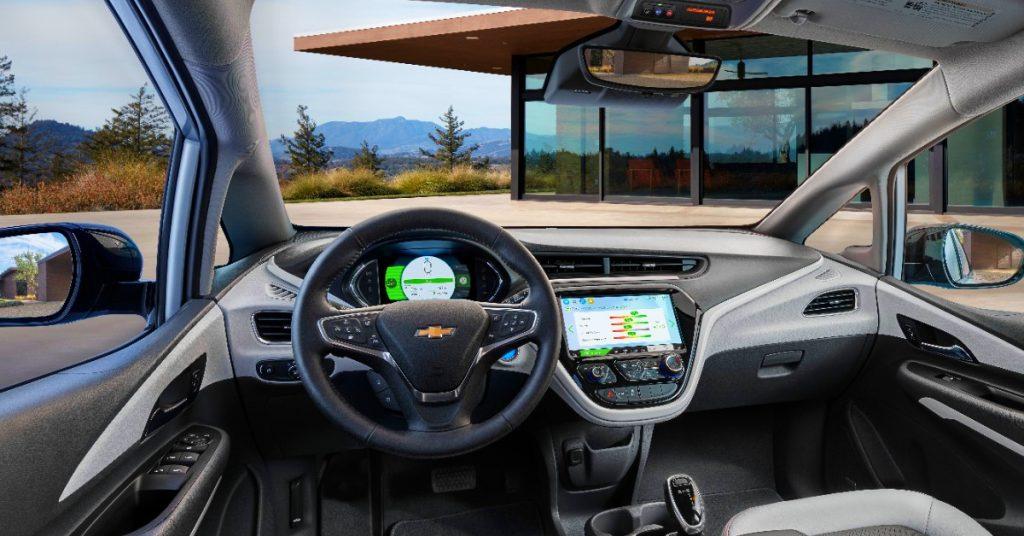 The interior of a Chevrolet Bolt electric car.