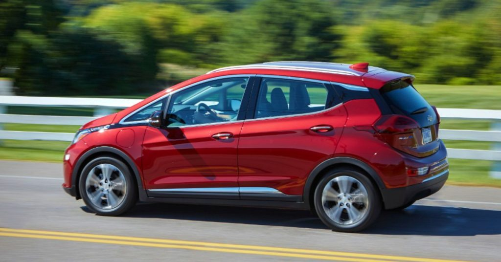 A red Chevrolet Bolt.