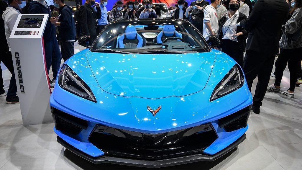 A blue Chevrolet Corvette sports car.