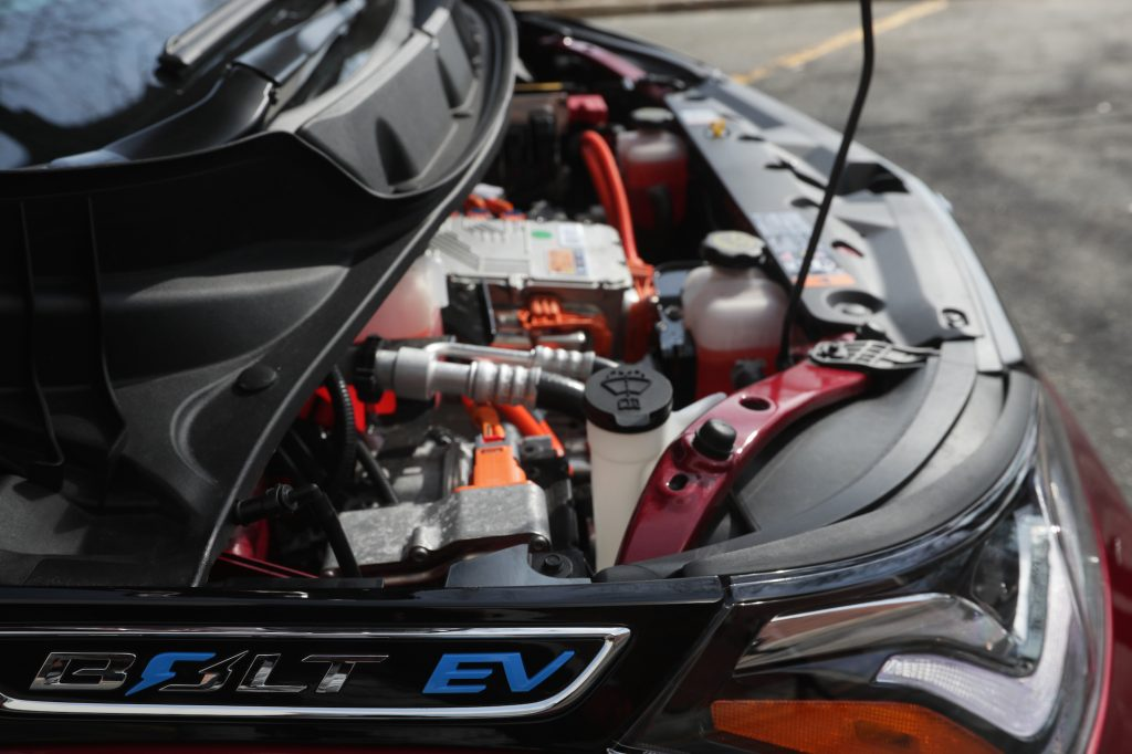 Under the hood of a Chevy Bolt EV in Boston on April 12, 2017