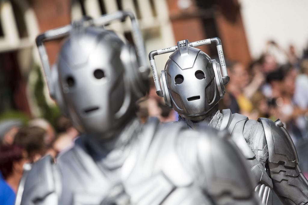 The Doctor Who Cybermen lined up.