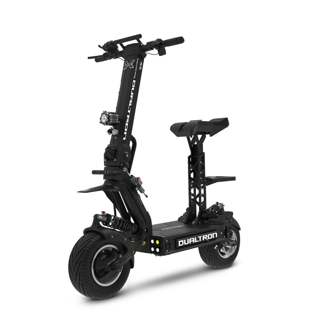 A black Dualtron X2 electric motorized scooter with the optional seat