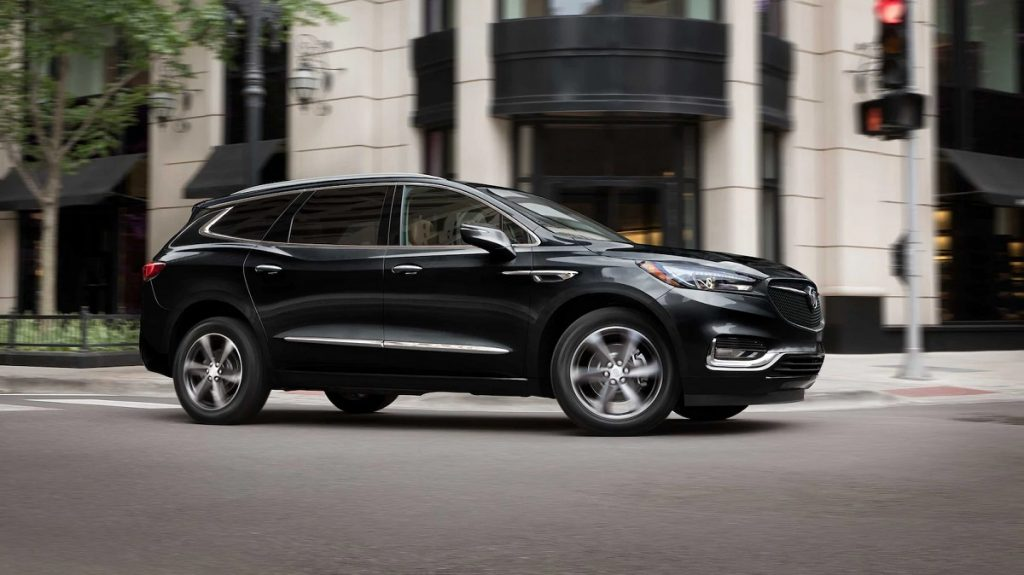A black 2021 Buick Enclave parked in front of a building.