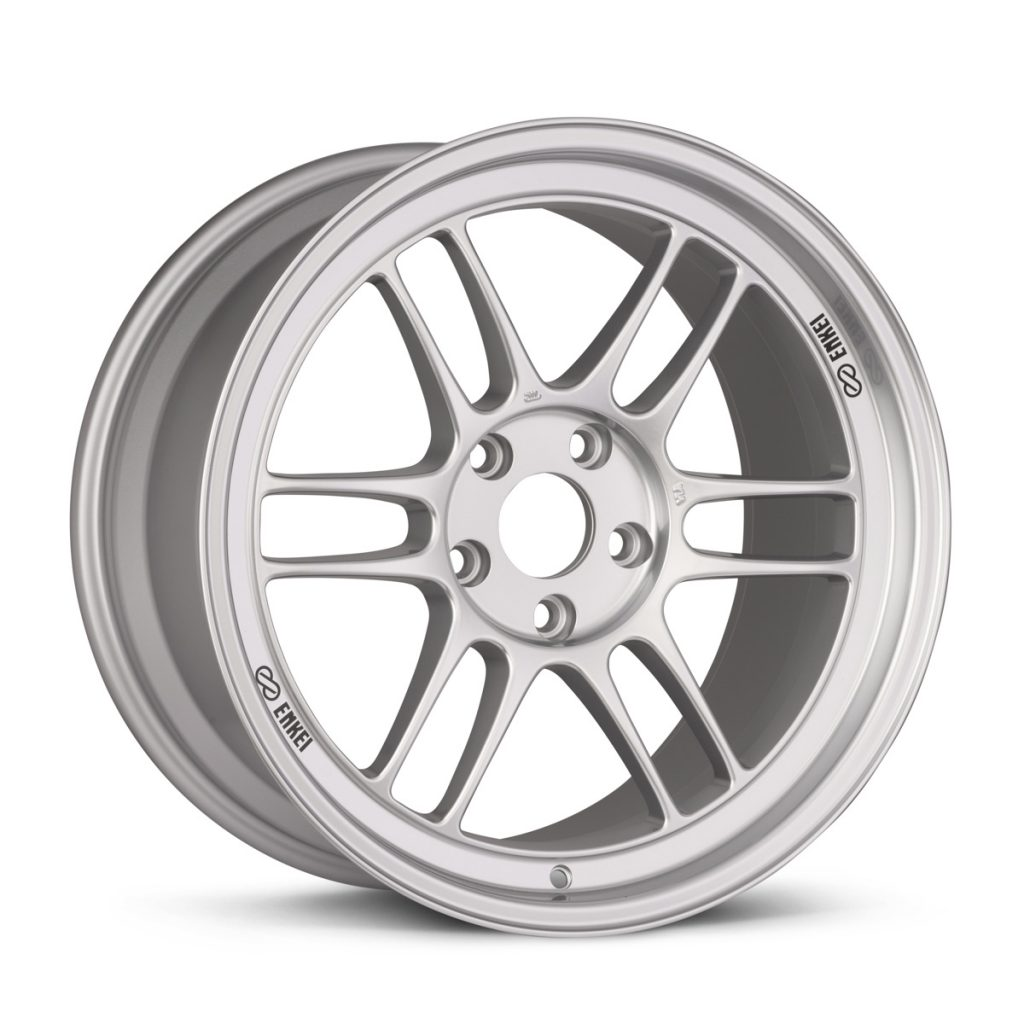 One of the most popular aftermarket wheels, the silver Enkei RPF1